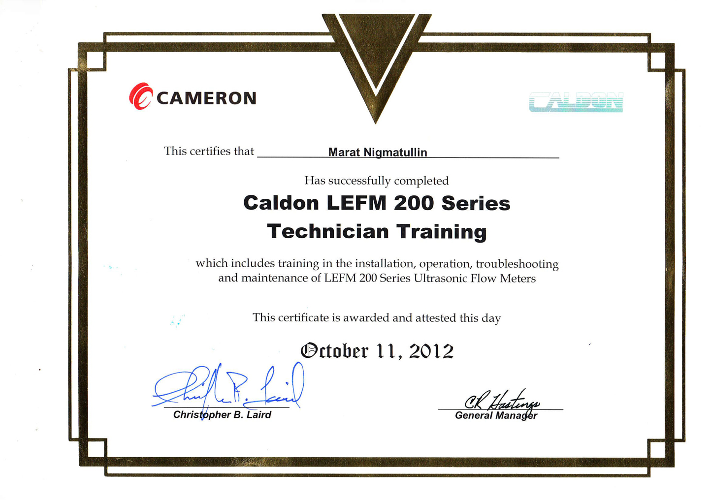 Cameron Technical Training Certificate. Installation, operation, troubleshooting and maintenance of ultrasonic flow meters LEFM 200