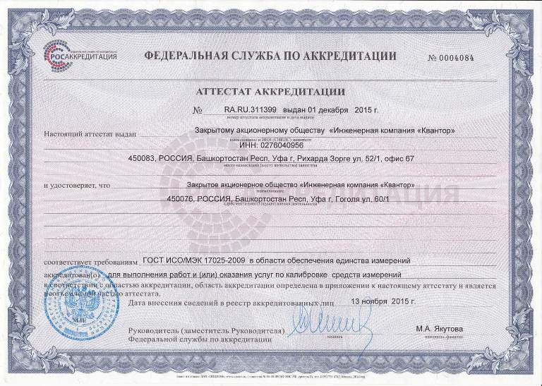 Quantor EC Accreditation Certificate for Calibration & Scope of Accreditation