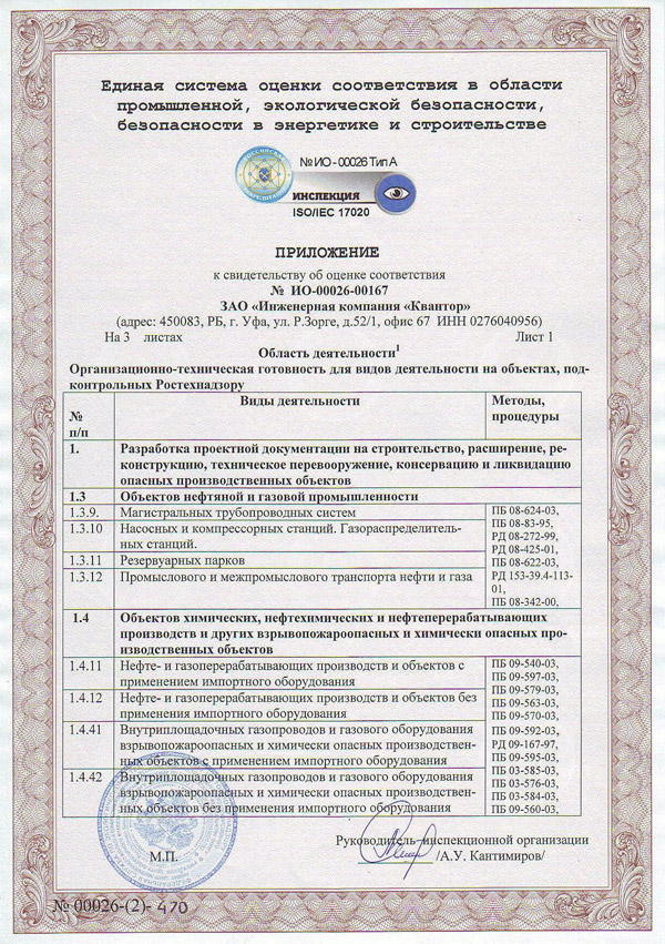 Certificate of ComplianceInspection